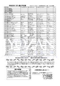 令和元年 5月献立予定表