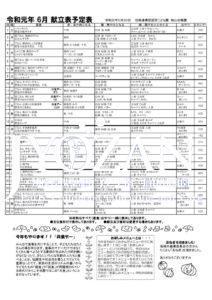 令和元年 6月献立予定表